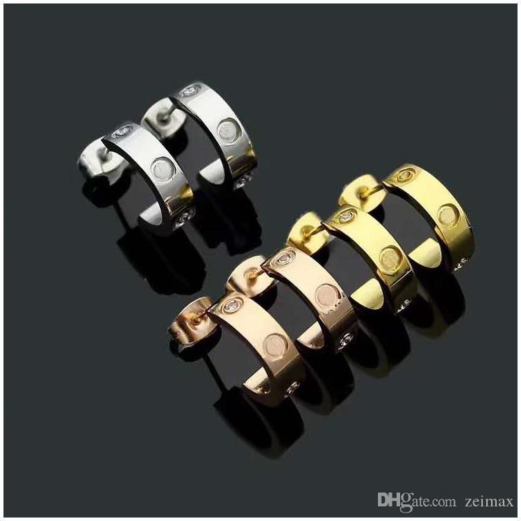 Aço inoxidável Titanium Brincos Amor Eardrop Gold Silver Rose ouro para as mulheres Jóias com caixa de zipper