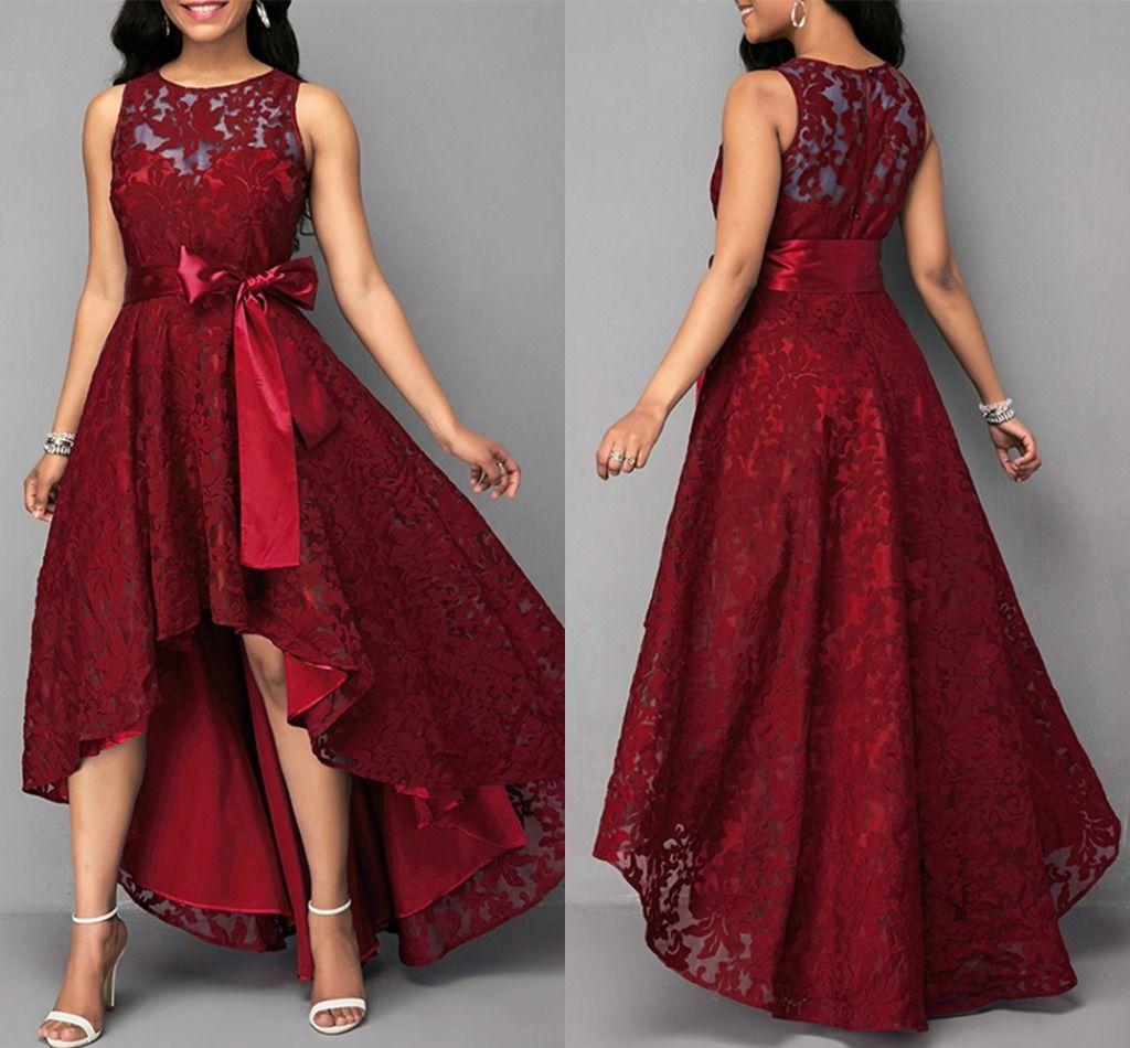 2020 cordón elegante una línea vestidos de dama de Alto Bajo cuello de la joya Criada de los vestidos de boda trasero de la cremallera Invitado a la Fiesta Vestido AL5976