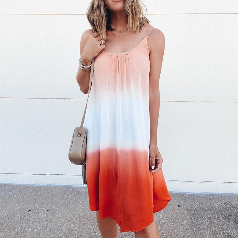 Yaz Kadın Batik Elbiseler Moda Kasetli Renk Spagetti Askı Elbise Nedensel Scoop Boyun Elbise Kadın Giyim