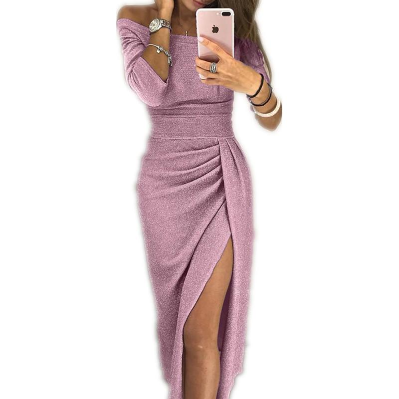 파티 드레스 여성 반짝 이는 어깨 루시 허벅지 슬릿 드레스 섹시한 클럽 손목 슬리브 드레스 Vestidos