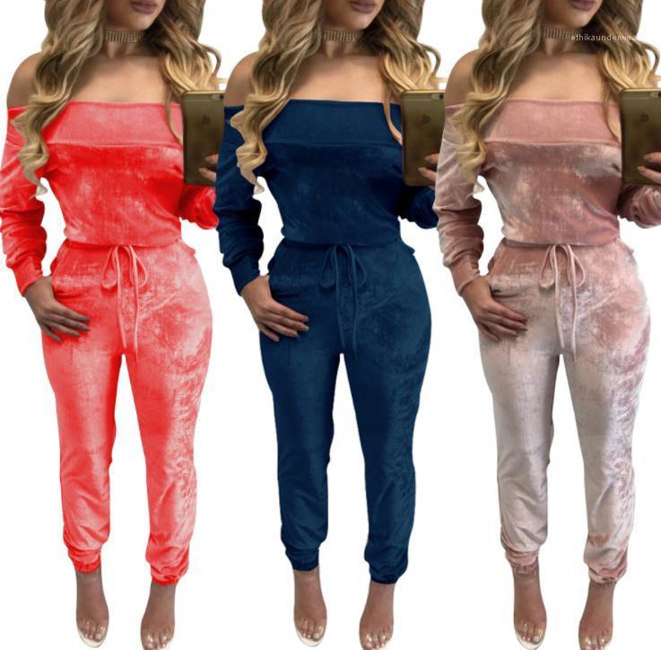 Womens Jumpsuits Designer Velvet Solid Color Casual Apparel Women Fashion Rompers Sexy Off Shoulder