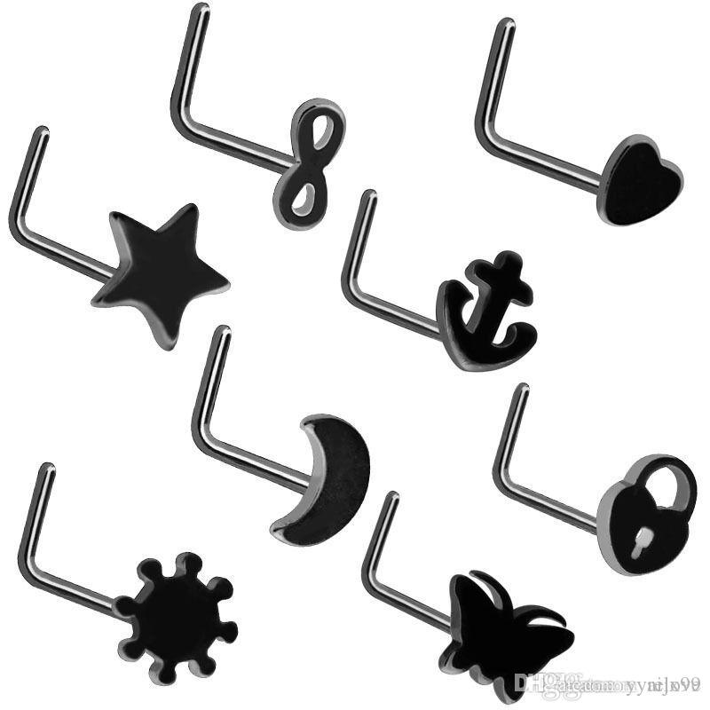 Women Men Stainless Steel Nose Studs Rings L Shaped Infinity Love Moon Heart Nose Septum Piercing Body Jewelry black color