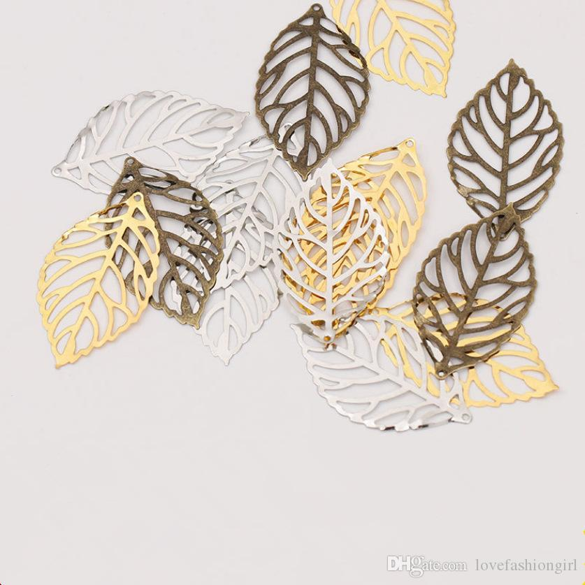 Jewelry Findings Components Vintage Alloy Hollow Out Leaves Charms For Earrings Necklaces Hair Wear Wholesale 3 Size DIY Accessories LP001
