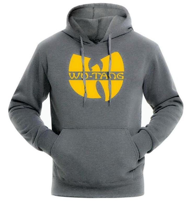 Mens Hooded Sweatshirt Wu Tang Fashion Classic Style Gray