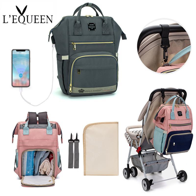 LEQUEEN USB Пеленки сумка рюкзак Детские сумки Уход Уход Материнство Пеленки Многофункциональный водонепроницаемый Мумия рюкзак сумка для мамы