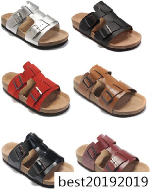9 couleurs Marque Floride Hommes Femmes PLATS Sandales à talons avec boucle en gros Summer Beach Chaussures Casual Top qualité en cuir véritable Slipper
