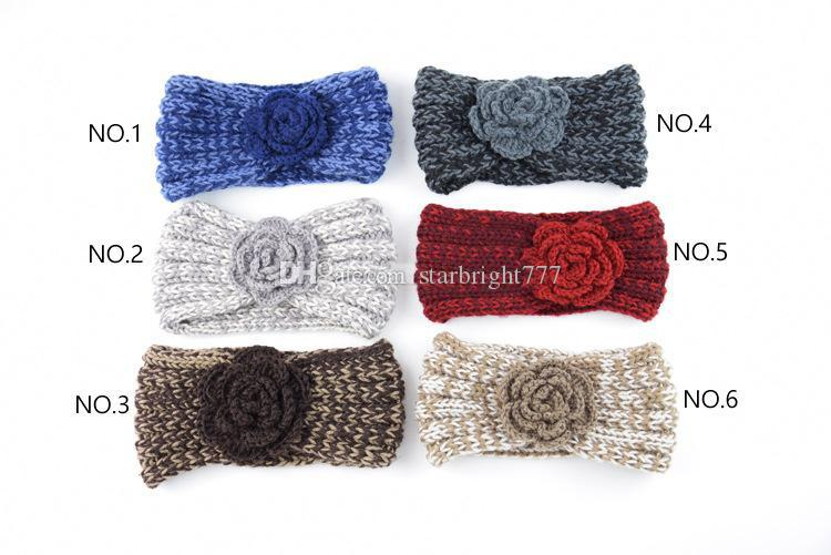 Kids Cute Headband Camellia Flower Crochet Knitting Wool Infant Winter Hair Warp