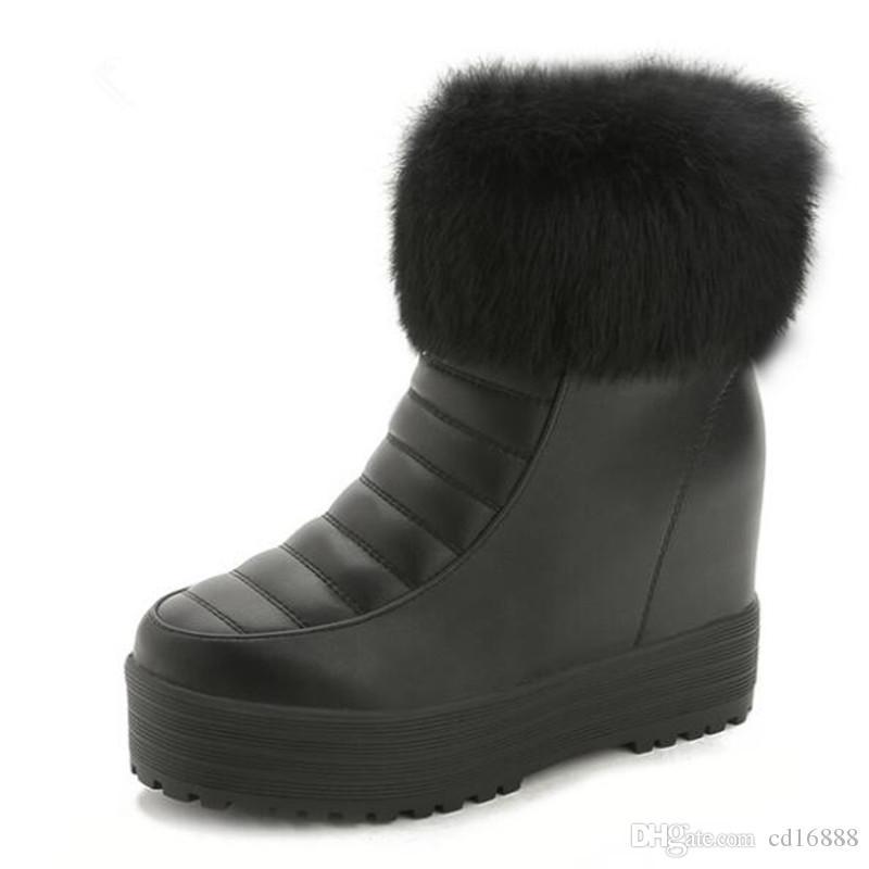 Elegantes y cómodos zapatos de invierno Tacones altos Aumentar dentro de las botas de nieve 2019 Nuevas botas de invierno de felpa cálidas Zapatos de mujer Zapatos casuales Moda