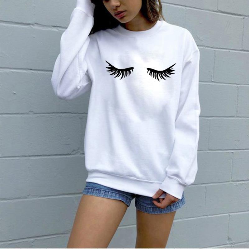 EnjoytheSpirit 여성 운동복 속눈썹 메이크업 속눈썹 재미 크루 넥 점퍼 패션 남여 선물 가을 겨울 착용