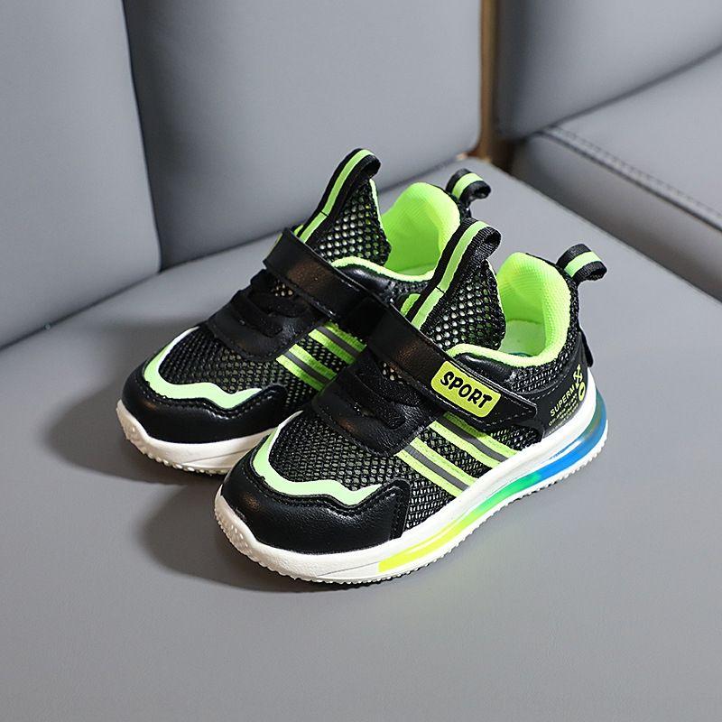 TIruo 2020 Summer new flashing lights sneakers, and children hollow-out single Net Children's light bottom boys sports shoes Children's ligh
