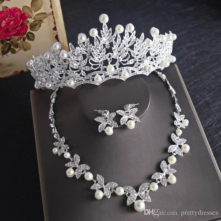 Lüks Kristal Yaprak Bling Gelin Düğün Takı Taç Kolye Küpe Setleri Quinceanera Partisi Takı Resmi Olaylar Gelin Takı Setleri