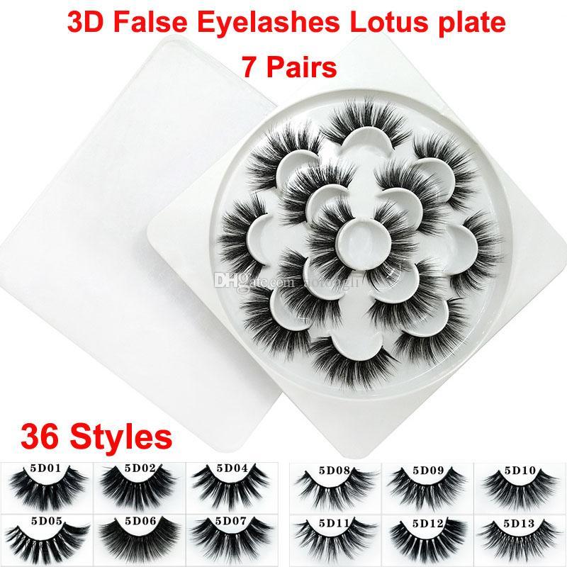 3D Vizon Yanlış Kirpik Dramatik Hacim Kirpik Şerit 5D 36 Stilleri Yanlış Kirpik Uzatma Sahte Vizon Doğal Kalın Yumuşak Lashes Lotus tabağı