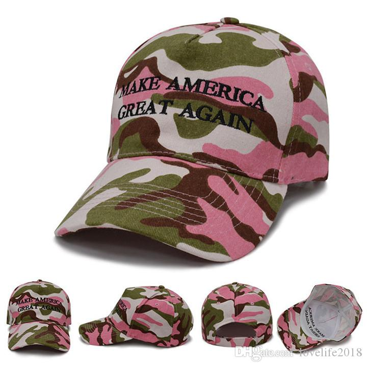 Pink Camouflage Donald Trump Hat Baseball Cap Keep America Great 2020 Hat 3D Embroidery Star Letter Camo Adjustable Snapback T169