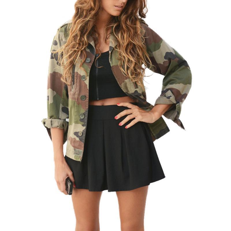 Casual Brasão Jacket Mulheres manga comprida Camouflage Bomber Outono Brasão com bolsos Outwear # F Zipper Magro recortada