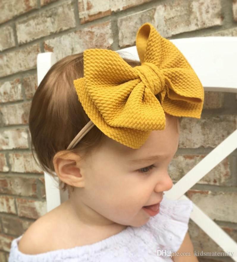 Big Bow Headband Nylon Hairband Girl Baby Knotted Turban Head Wraps Elastic Cute