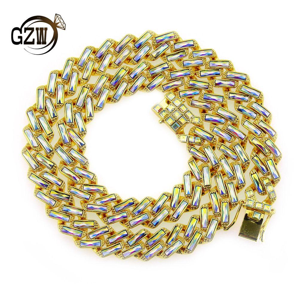 15mm 4 Colors personalized Gold Silver Bling Rectangle Diamond Cuban Link Chain Choker Long Necklace for Men Rapper Bijoux Mens Chains