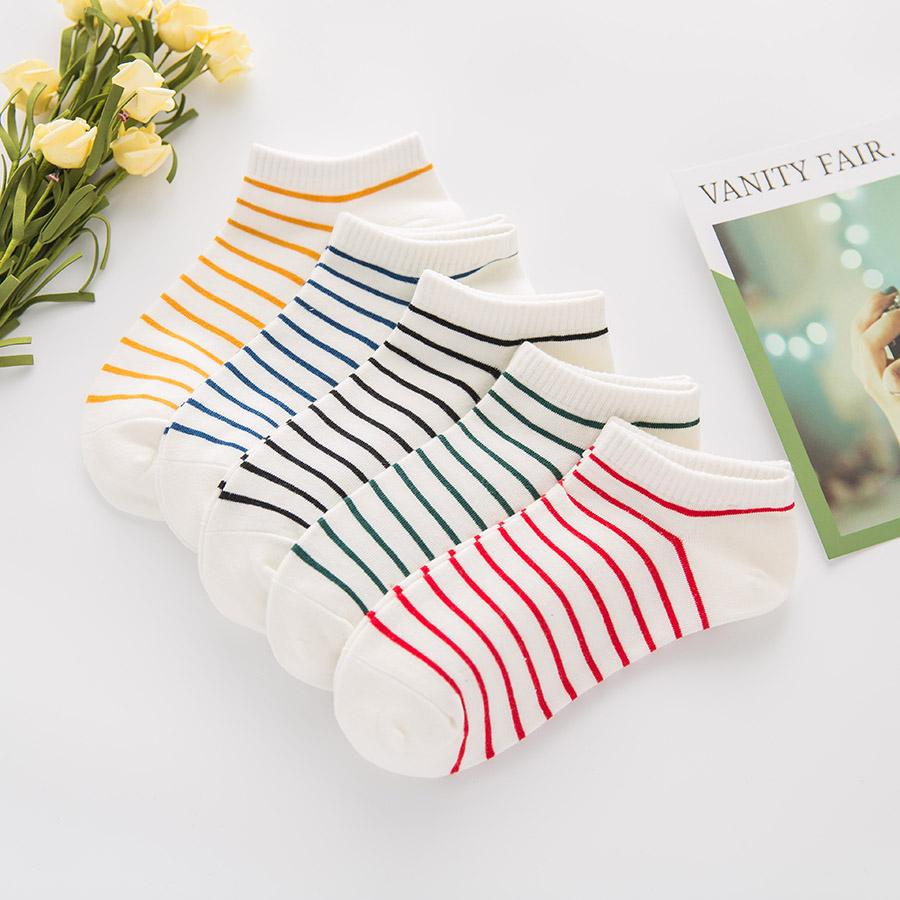 New Women Socks Low Cut No Show listrado absorve o suor respirável Algodão Primavera Verão Womens Outono Casual curto Ankle Socks Mulheres