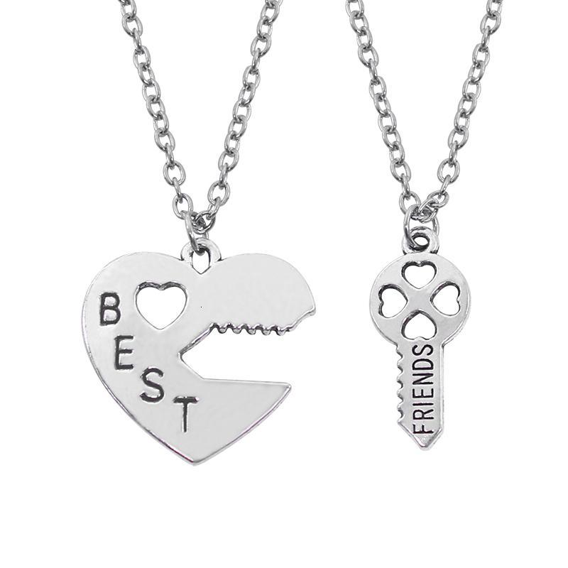 2 PC / Satz Besten Freund Halsketten Schlüssel zum Herz-Silber-Ton-Anhänger-Halskette Verschluss und Schlüssel Best Friend BFF Halskette Split Diy