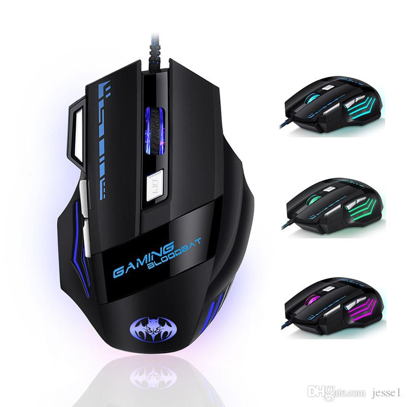 BLOODBAT USB Ratos Wired Optical 3200dpi Computer Gaming Mouse 7-Key incandescência Respirar Luz Firepower Key Wired mouse frete grátis