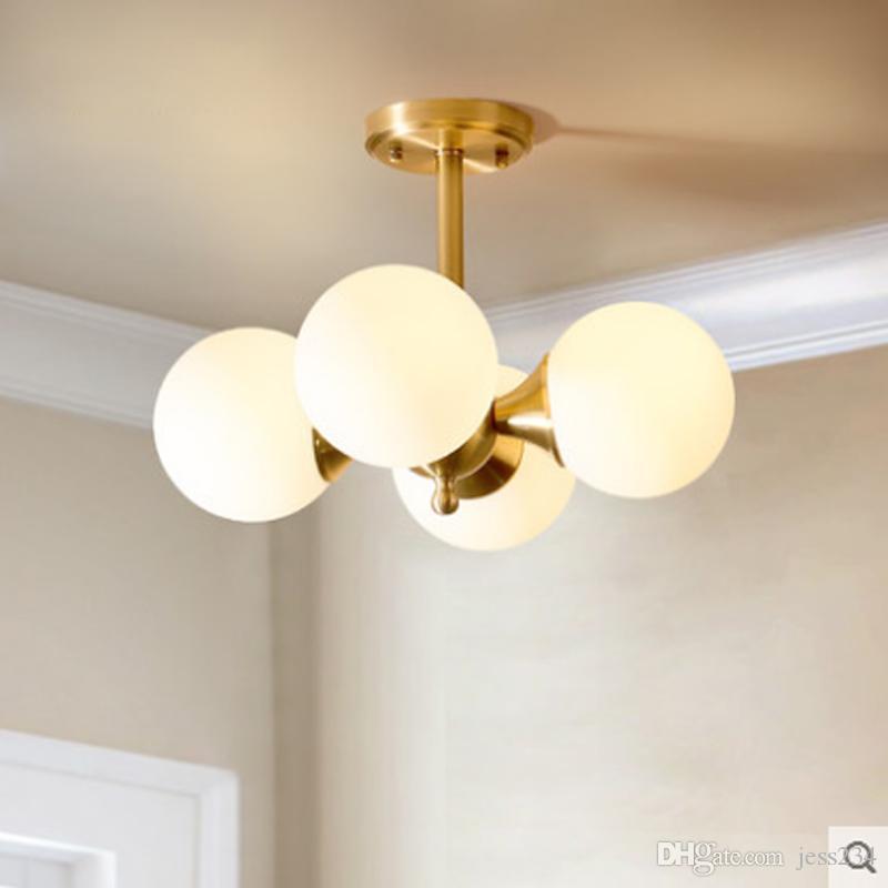 LED creativa nórdica lámparas de leche sencilla bola de cristal blanco pantalla de lámpara E27 iluminación salón cobre decoración lámpara de techo de casa