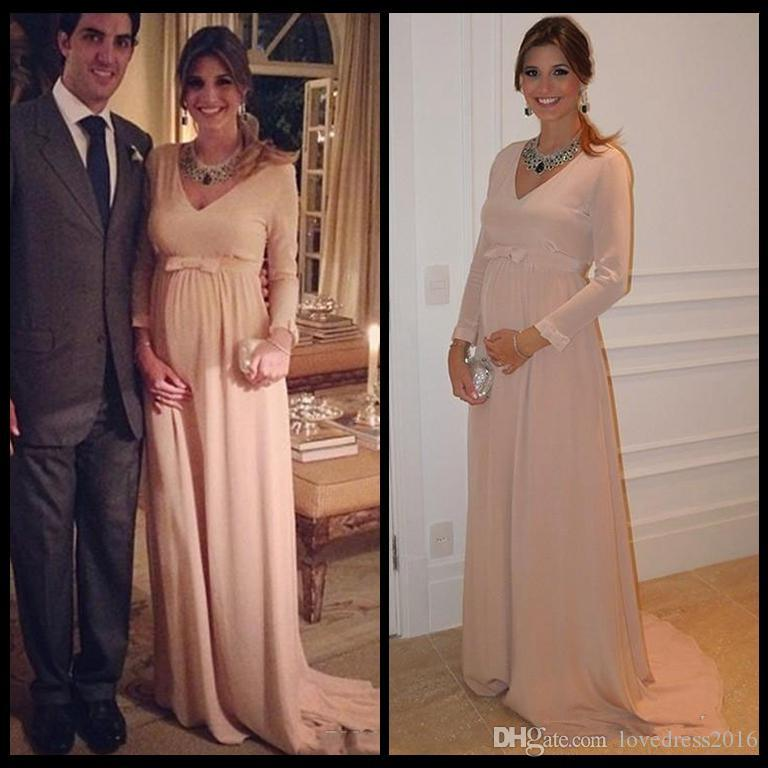 2018 Plus Size Maternity Evening Dresses with Bow V Neck Long Sleeves Prom Dresses A Line Chiffon Cheap Party Gowns