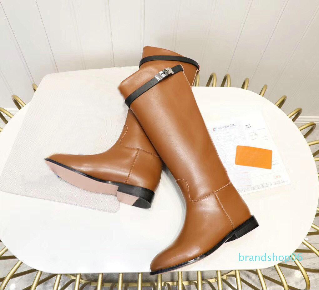 Las mujeres de la venta caliente de la rodilla del cuero genuino de alta rectas talones Botas Negro Gris Marrón Señoras Martin botas de pisos Mujer Caballero Botas 35-42