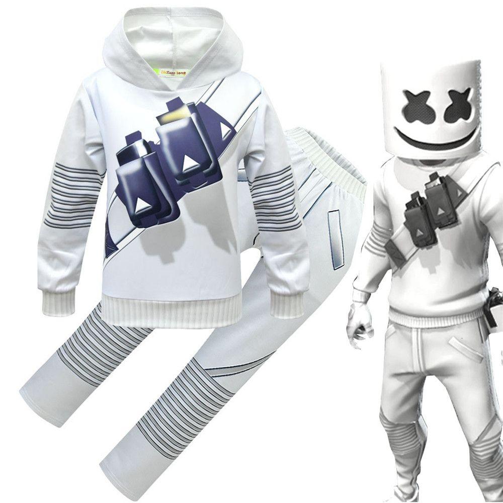 Çocuklar Kazak / Pantolon / Maske Set cosplay DJ Kostüm Karikatür Baskı Erkek ve Kız Kazak Cadılar Bayramı Oyunu Üniforma SH190910