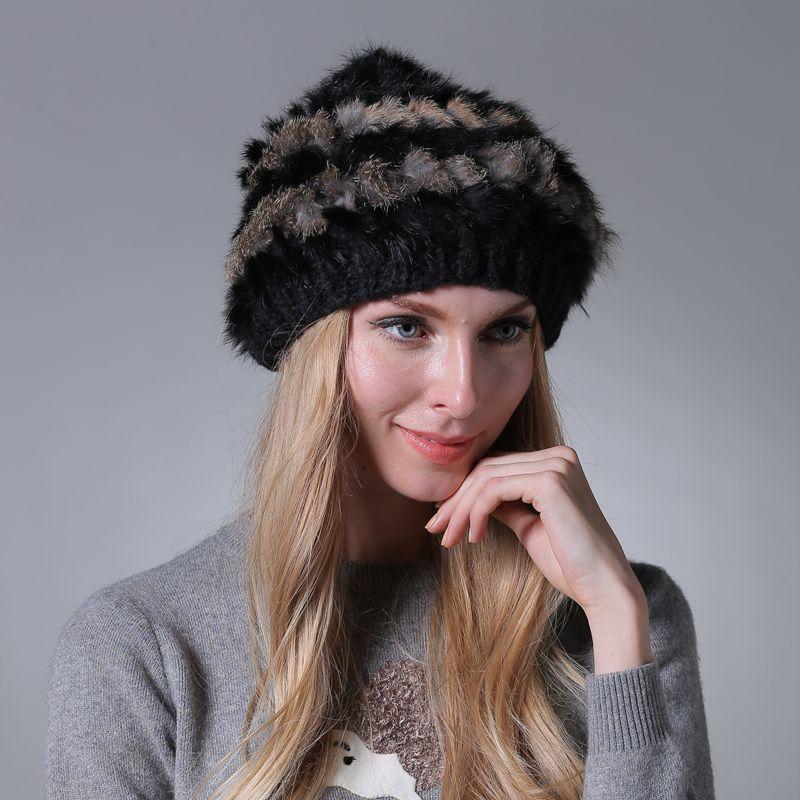 Autumn and Winter Rabbit Fur Dome Beanie Luxury Stripe Designer Hats Fur Wool Knitting Popular Caps