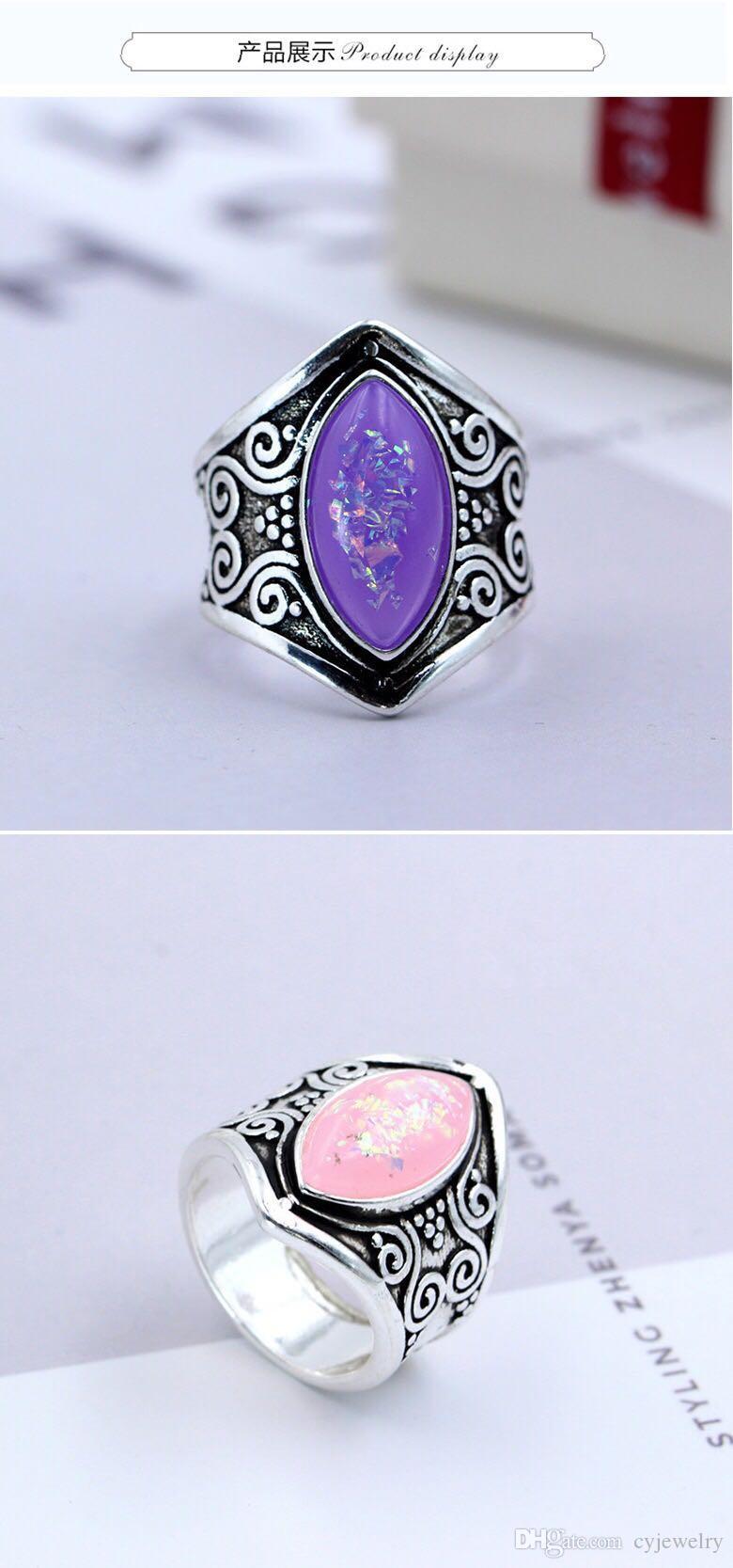 New fashion European reto miinstone silver ring pink/puple opal eye of horse fashion elegant women Jewelry party exaggerated ring size:5-11#