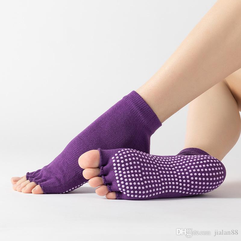 Forma de distribuição meias Ioga antiderrapantes absorção de suor, respirável anti-fricção meias Ioga com os dedos abertos em cor pura