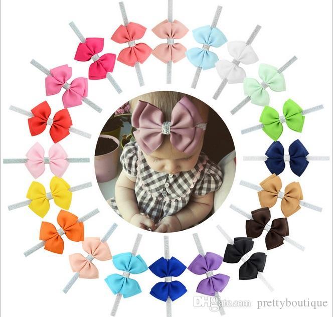 4 Inch Baby girls cute bow Tie Elastics Hair Headbands bowknot Ribbon Bows Accessories for Kids Hair Wrap Hairband Headwear A118