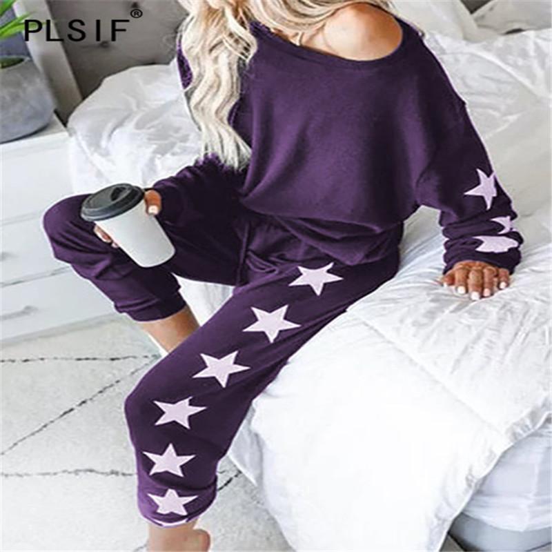 estrella empalmado mujeres de la moda nuevo estilo establecido o-cuello de manga larga jerseys y pantalones deportivos de 2 piezas conjunto deportes equipo ocasional