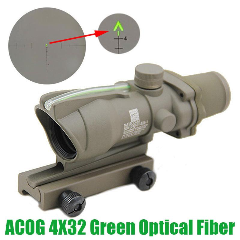 Tactical ACOG 4X32 Fiber Optics Green Dot Illuminated Chevron Glass Etched Reticle Real Fiber 20mm Weaver Rail Combat Sight