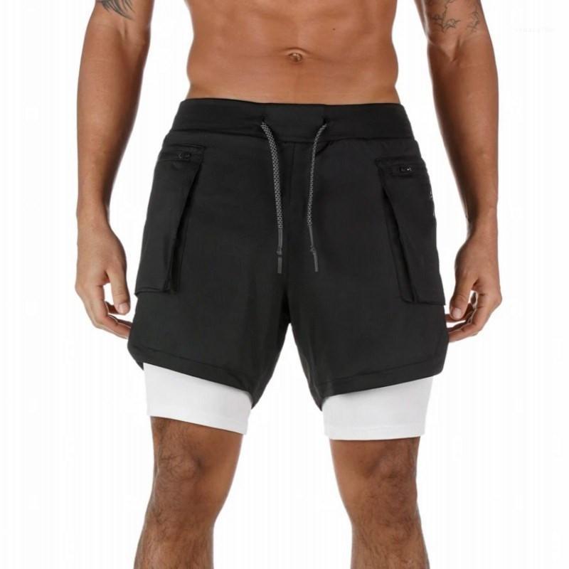 Aktif Erkek Kısa Pantolon Relaxed Düz İpli Çift Şort Yaz Tasarımcı Kısa Pantolon Nefes Basketbol Eğitim
