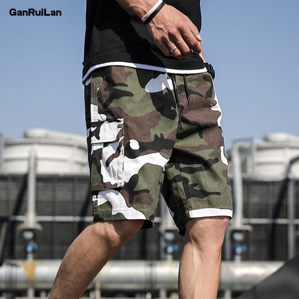 Sommer neue Männer kurze Hip Hop Shorts Street Herren-Safari Art-Weinlese Jogger Shorts Männlicher große Taschen Shorts DK19029 T200627