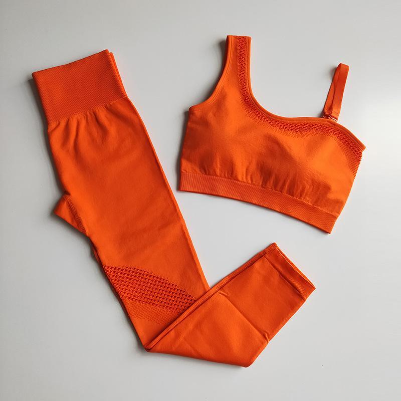 2 Piece Seamless Yoga Set Mulheres Vital Gym Roupa oco Out Academia Leggings + recortada Bra Suit mangas Traksuit desgaste ativo
