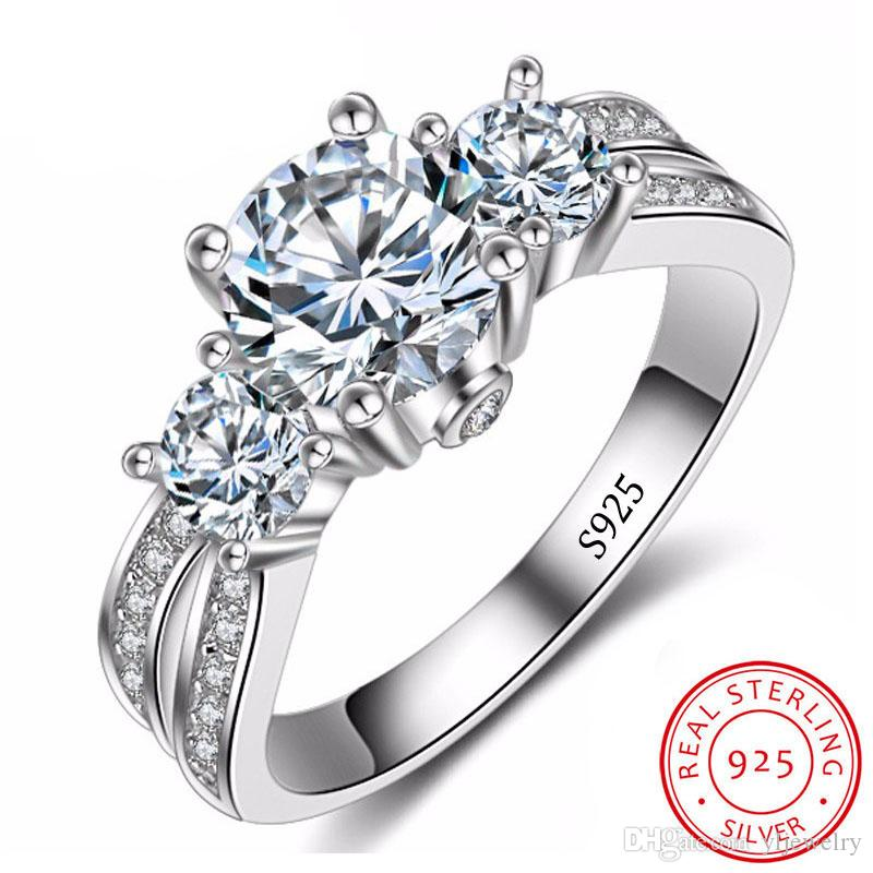 Original Solid 925 Silver Rings set 6mm CZ Diamant Wedding Rings Jewelry for Women Wholesale XR036