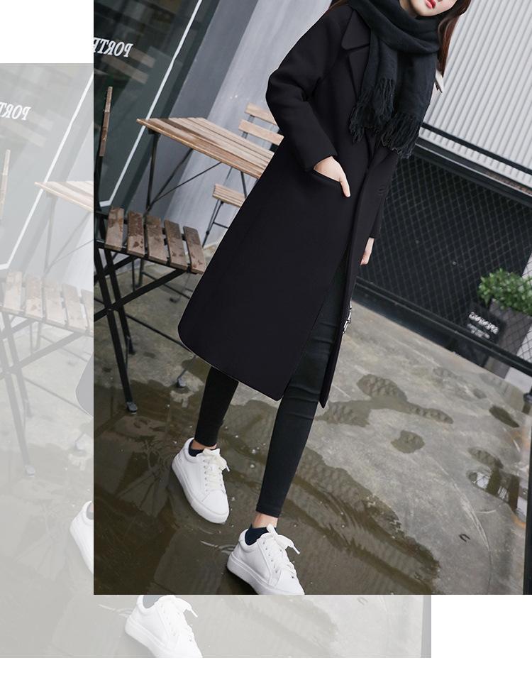 Mode solide à long Woollen Manteaux d'hiver Bureau Slim Lady Manteau et veste simple boutonnage femme Manteaux