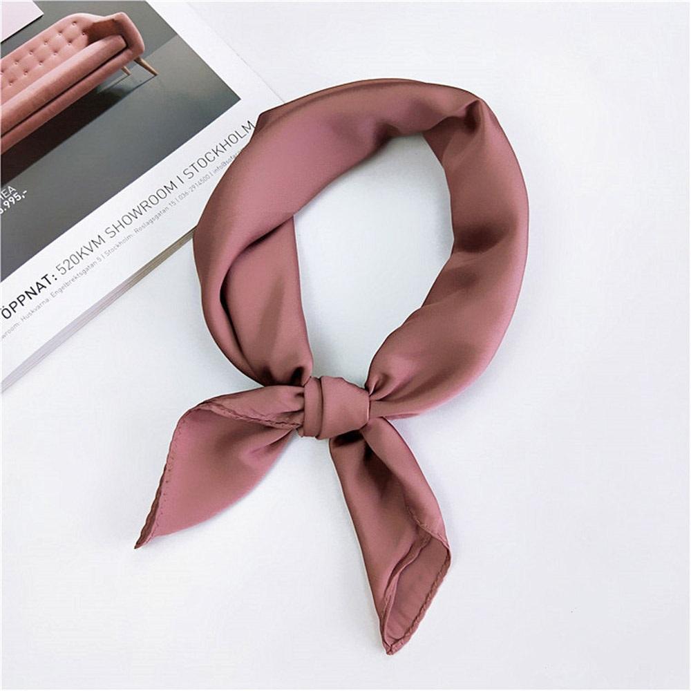 92a5883ac New Korean Style Women Soft Silk Feel Satin Square Scarf Small Plain  Neckerchief Head Neck Headband Solid Color Hair Tie Band