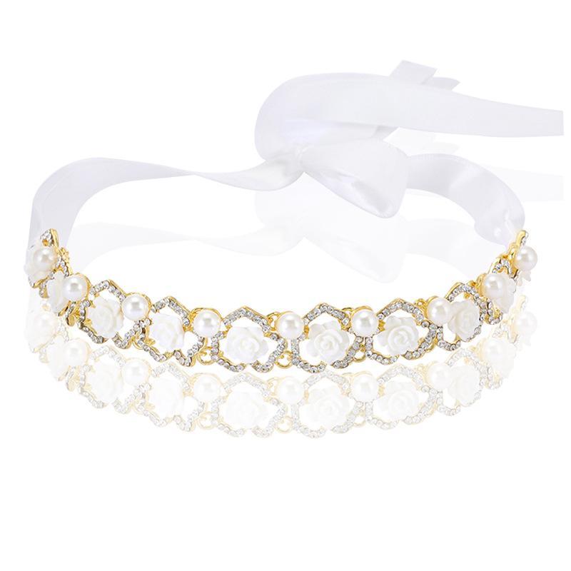 Свадебная вечеринка 22x2cm украшения для волос из бисера цветок лист головной убор невесты корона алмазный головной убор для невесты действующая инициация выпускной RS-287