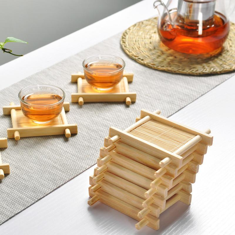 Natural 1pc 100% Bamboo Wood Trays For Tea Trays 7cm*7cm Creative Chinese Word Jing Concave Cup Mat Preferred