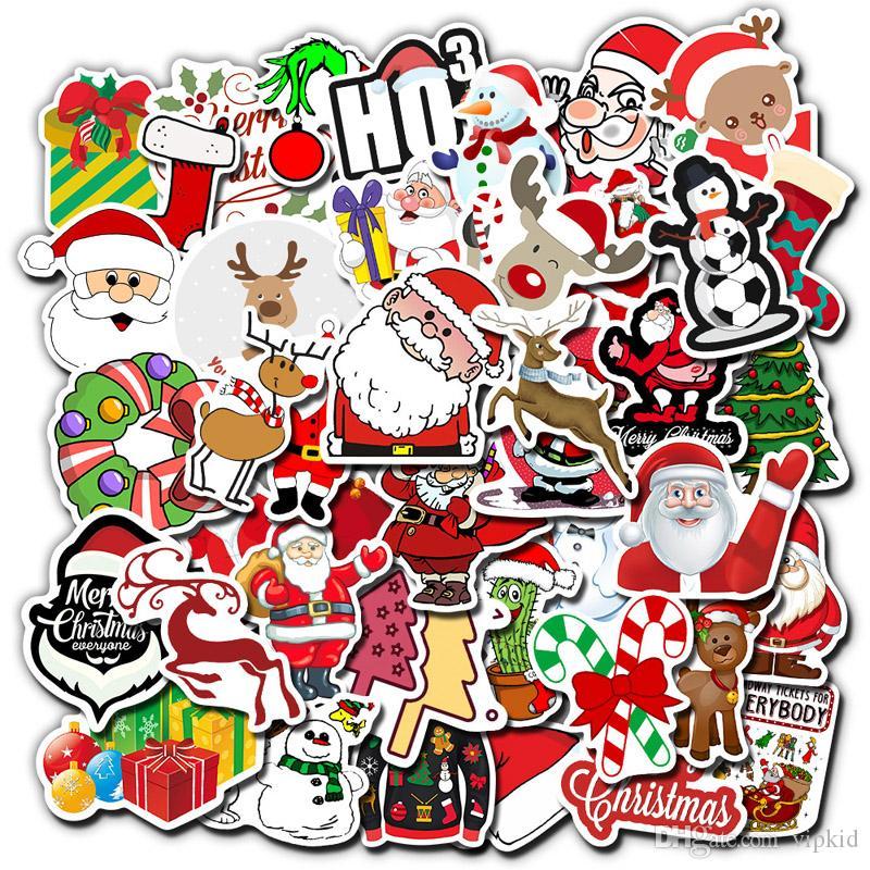 50 Pcs Christmas Elk Snowman Santa Claus Stickers Skateboard Suitcase Snowboard Guitar Motorcycle Laptop Sticker Classic Toy B1