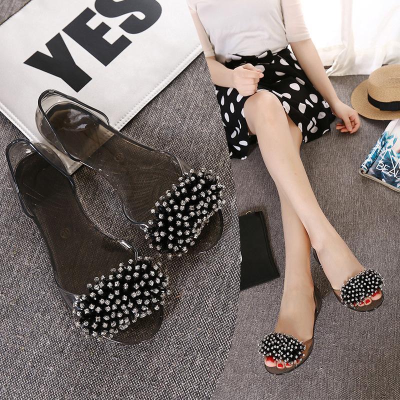 Fairy2019 활 라인 석 투명 크리스탈 젤리 구두 여자 플랫 하단 플라스틱 시멘트 샌들 관광 비치 신발