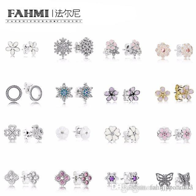 FAHMI 100% 925 pendientes de plata de ley del copo de nieve cristalino de la manera del encanto de la joyería del grano para las mujeres envío libre del regalo
