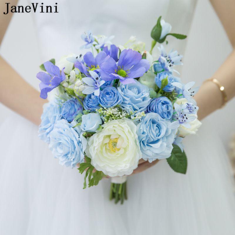 Acheter Janevini Romantique Fleur Bleue Bouquets De Mariage Artificielle Soie Roses Fleurs De Mariage Fleur Mariage Bouquet Tenue De Bouquet Ramo