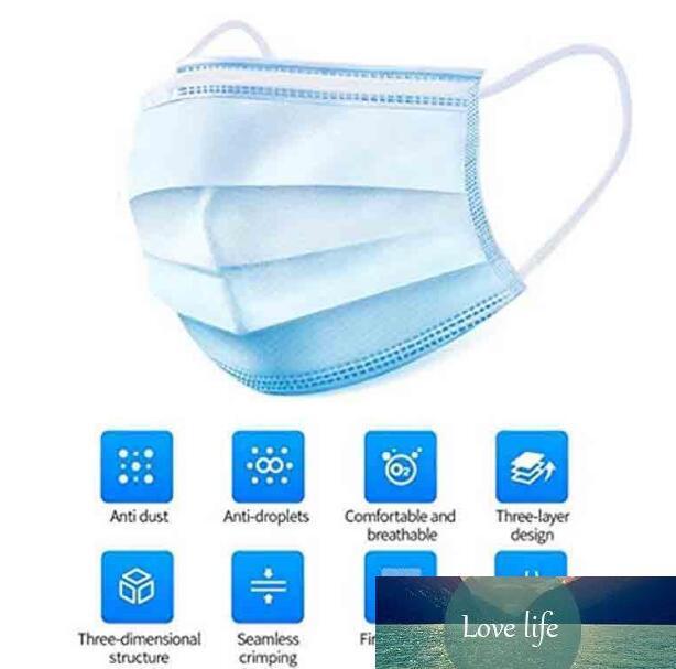 Elastik Kulak Döngü 3 Kat Nefes Anti-Dust Su geçirmez Respiratör Hava Kirliliği ile 50 adet Maskeler ince Paketi Tek Kullanımlık Yüz Maskeleri