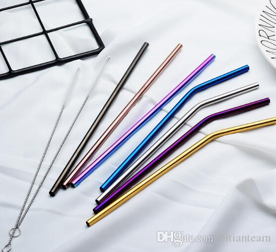 6 * 215mm 304 Palha De Aço Inoxidável Dobrado E Em Linha Reta Reutilizável Canudos Palhinhas De Palha de Metal Mais Limpo Pincel de Bar Escova de Beber ferramenta