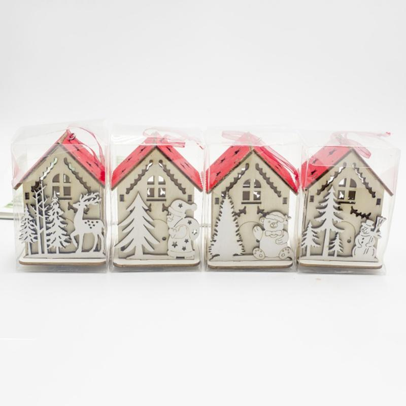 Christmas Small Wooden House With Lights Household Hang Decoration