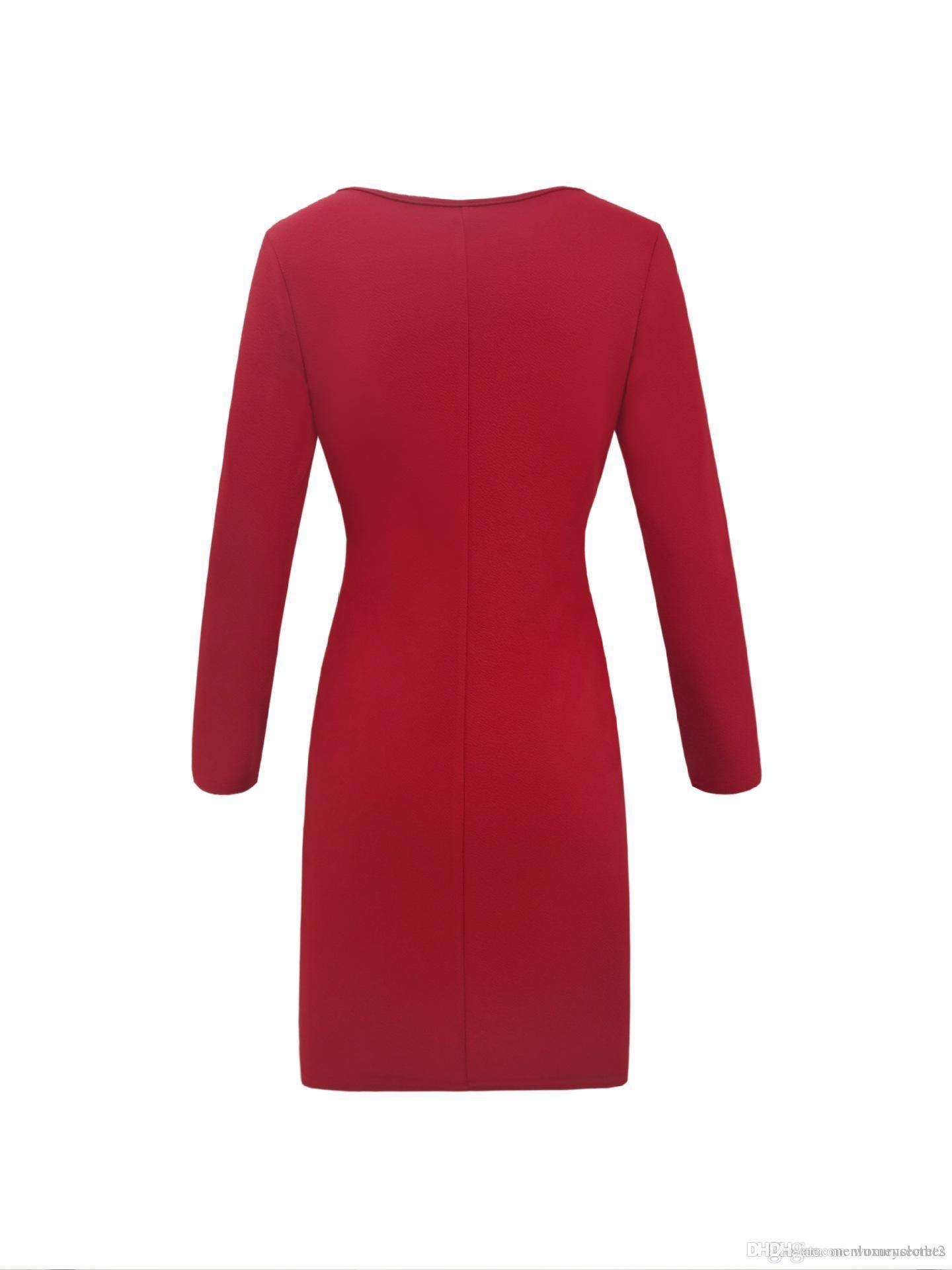 Женская осень Bodycon платье Глубокий V-образный вырез Sexy Пуговица Дизайнер одежда Карандаш платье Работа OL