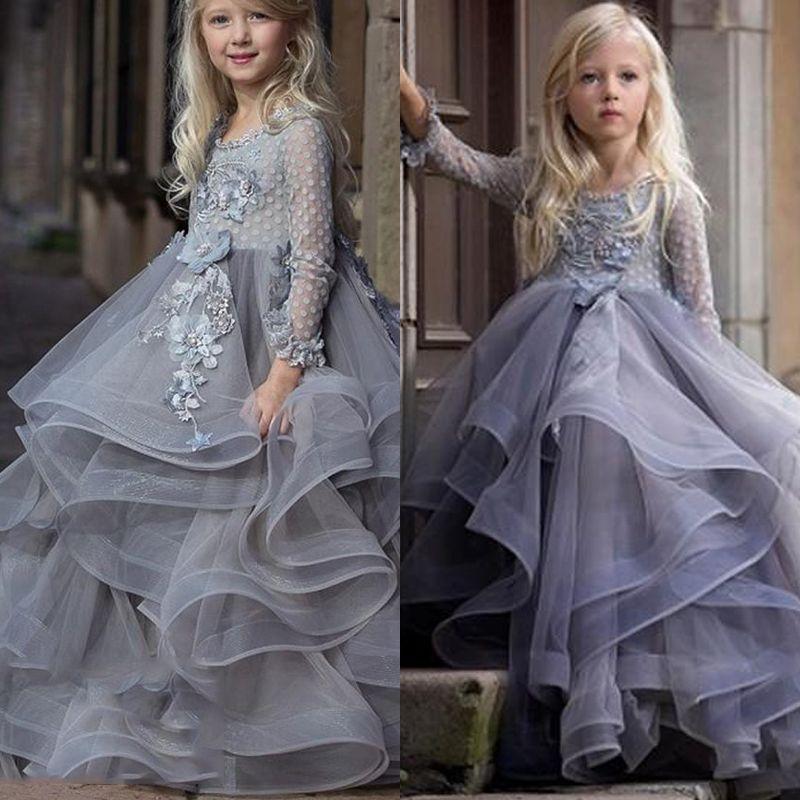 Tiers Rüschen Tüll Mädchen Abendkleid Blume Mädchen Kleid Modest Long Sleeves Sheer Neck Hand Made Blumen Kinder Pageant